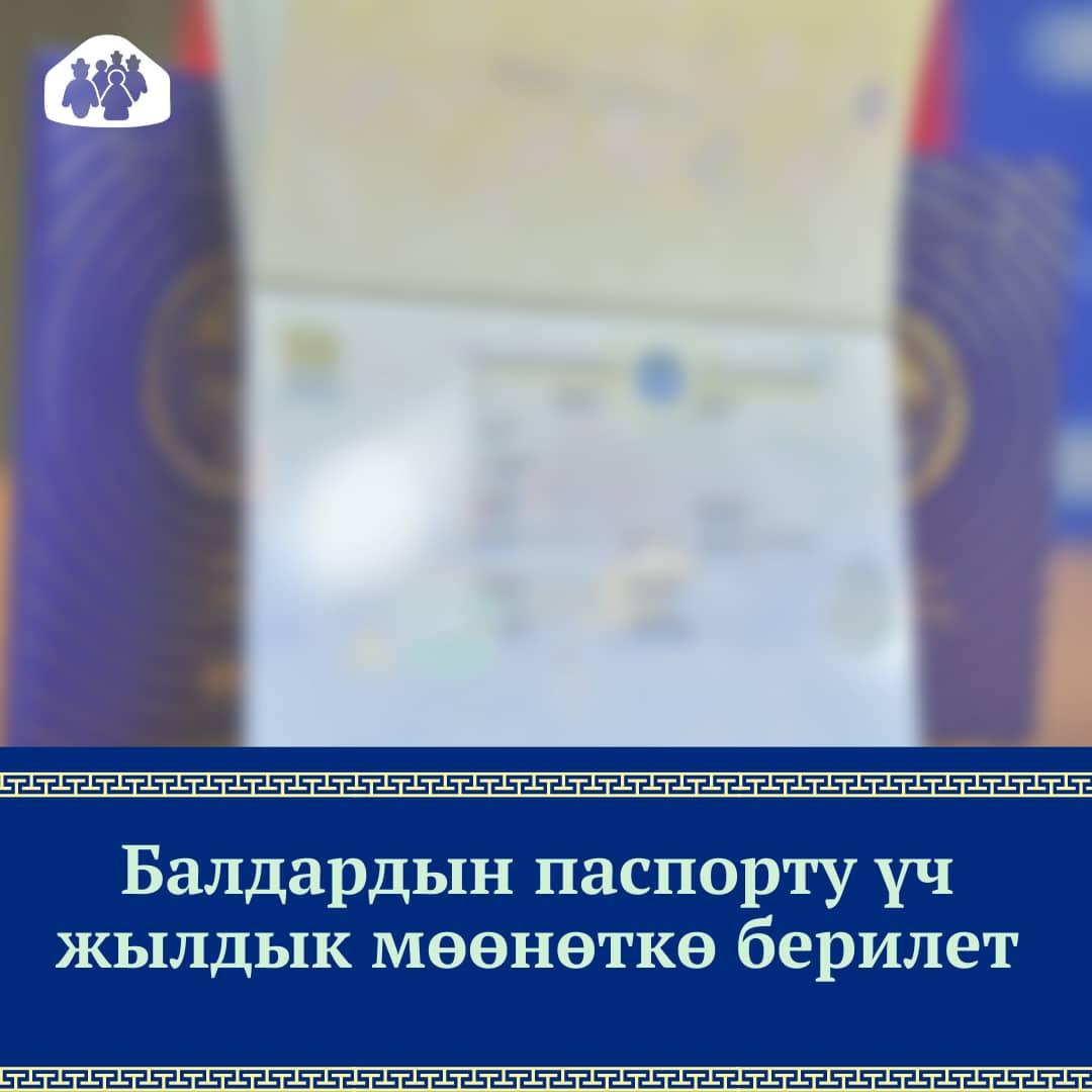 Балдардын паспорту үч жылдык мөөнөткө берилет